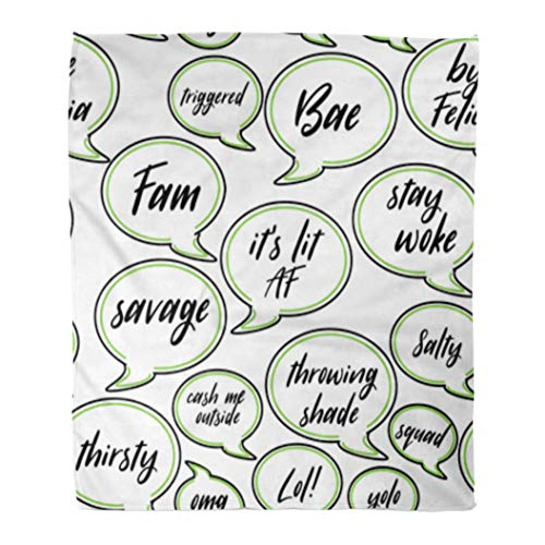 Golee Throw Blanket Conversation Speech Bubbles of Current Teen Millennial Slang Phrases Include 50x60 Inches Warm Fuzzy Soft Blanket for Bed Sofa