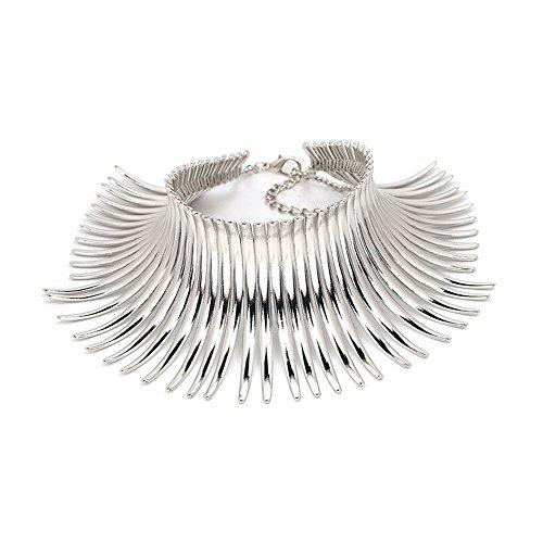Karen accessories Statement Necklace for Women Canine Shape Metal Choker Collar Statement Necklace (E-Silver)