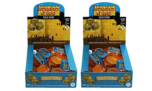 Kosher Nut-free Dairy Gold Foil Chocolate Coins, 24 Sacks Each- 2 Pack