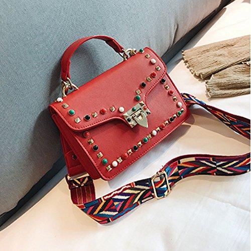 couleurs bande facultatives ZCM à chaîne de rivet petit portatif 3 sac femmes bandoulière de de Rouge Sac de d'épaule large wqC0UwT