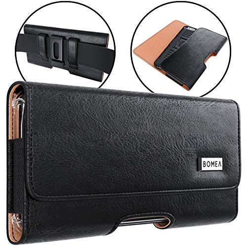 Bomea Galaxy S10 Plus Galaxy S9 Plus Galaxy S8 Plus Note 8 Belt Case, Premium Leather Belt Clip Case Holster Pouch Sleeve Phone Holder For Samsung Note 8/s10+/S8+ / S9+ (Fits with Other Case On) Black