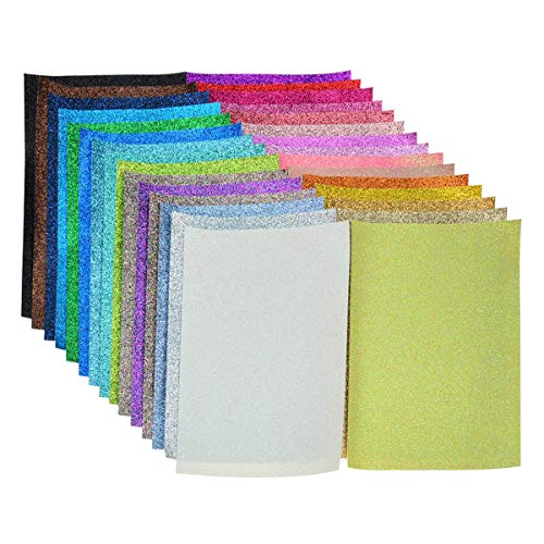 Glitter Fabric Faux Leather Sheets- 30 Pieces Assorted Colors A5 Size?8X6 Inch?Shiny Glitter Canvas Sheets for Bows, Earrings, Hair Accessories Making(30 Colors, Each Color One Sheet?
