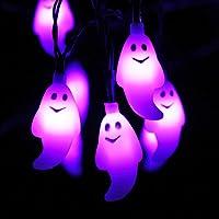 Violet Fantôme Guirlande lumineuse - HAYATA 20 LED 2.5m Fonctionnant sur batterie Hallween Guirlande lumineuse - Décor de fête d'Halloween, décoration de Halloween, éclairage de Halloween