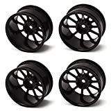 DN Aluminum Alloy RC 1:10 Racing Car Wheel Rims With 11-Spoke (Pack Of 4) -Black