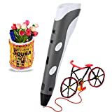 Soyan Standard 3D Printing Pen for Kids, With ABS Filament Sample and Drawing templates (Gray)