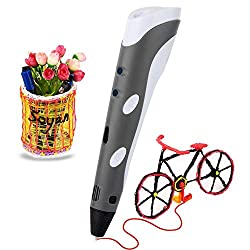 Soyan Standard 3d Printing Pen For Kids, With Abs Filament Sample & Drawing Templates (Gray)