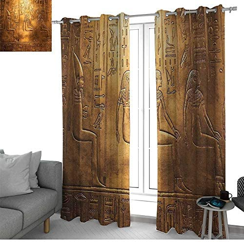 LewisColeridge Blackout Curtains Egyptian,Egyptian Hieroglyphics Old Texts Logographic and Antique Alphabetic Elements,Gold and Brown,for Bedroom,Nursery,Living Room 54 x63