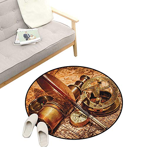 - Antique Round Rug ,Compass Goose Quill Pen Spyglass and a Pocket Watch Lying on an Old Map Print, Art Deco Non-Slip Backing Machine Washable 47
