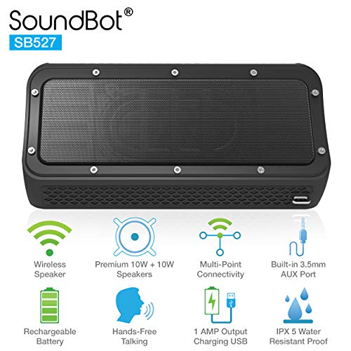 SoundBot SB527 Bluetooth 4.2 Wireless 20W Speaker Water & Shock Resistant for 12Hrs Music Streaming