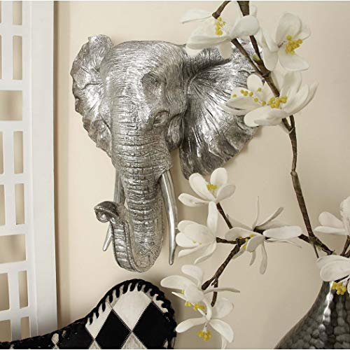 MISC Silver Elephant Plaque Hanging African Decor for Office Safari Sculpture Wall Mounted Animal Trunk Tusks Ears Head, Nickel Finish Resin 16x16 Inch