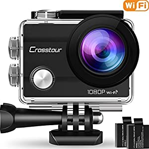 "Crosstour Action Camera Underwater Cam WiFi 1080P Full HD 12MP Waterproof 30m 2"" LCD 170 Degree Wide-Angle Sports Camera 2 Rechargeable 1050mAh Batteries Mounting Accessory Kits"