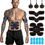 MAYLUCK ABS Stimulator Muscle Toner - EMS Abdominal Toning Belt, Training Device for Muscle, Muscle Shaping Muscle Stimulator for Men and Women, Arm and Leg Trainer, Office,10pcs Gel Pads
