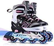 Inline Skates for Kids Girls Boys Beginners, 4 Size Adjustable Size with Light Up Wheels for Children.