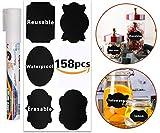 #6: 158pcs Chalkboard Labels, Reusable Waterproof Mason Jars Labels - 1 Free Erasable Chalk Markers Window Pens for Kitchen Pantry,Spice Jars Glass Bottles – Best Chalk Stickers & Organizing Label