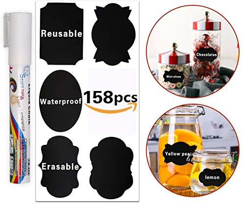 158pcs Chalkboard Labels,Reusable & Waterproof Chalkboard Stickers with 1 Erasable White Chalk Markers Window Pens for Labeling Mason Jars, Pantry, Glass Canisters – Organize Your Home Storage & Offic Wood Pantry