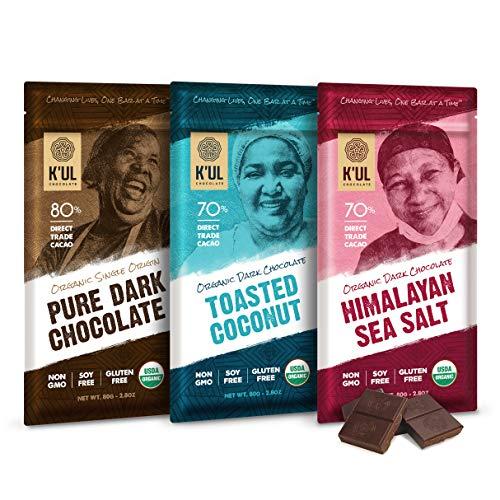 K'UL CHOCOLATE Bars | 3 Pack Dark Chocolate | Himalayan Sea Salt | Toasted Coconut | Pure Dark Chocolate | Organic Vegan, Gluten Free, Non Gmo, Direct Trade Dark Chocolate | 2.8oz Each (Chocolate Bars Organic)