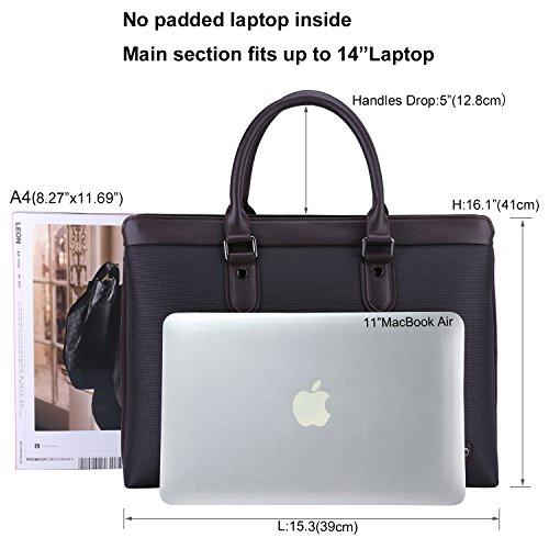 Banuce Männers Wasserfestes Oxford Stoff Leder Jute Aktentasche Laptoptasche Geschäftliche Schultertasche
