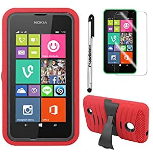 Phonelicious® For NOKIA LUMIA 530 (Cricket & Tmobile & Metro Pcs) Heavy Duty Rugged Impact Armor Hybrid Kickstand Case Phone Dynamic Cover Tuff + Premium Screen Protector Combo & Phonelicious® Stylus Pen (Red U)