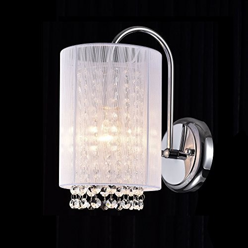 LaLuLa Crystal Wall Sconce 1 Light Chrome Finish with White Shade Wall Lamp 17167 by LaLuLa