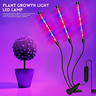 High Brightness 36W Light Effect,Three Tube Plant Grow Light, 360 Degree Flexible, 120 ° Beam Angle and Three on / off Switch for Indoor Plants Greenhouse Office, LED Plant Light