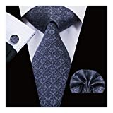 Hi-Tie Black Gray Tie Silk Tie for Men with Handkerchief Cufflinks Formal Tie New Design Pattern