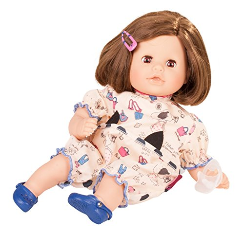 "Gotz Cosy Aquini 13"" Soft Body Bath Baby Doll with Brown Hair and Brown Sleeping Eyes"