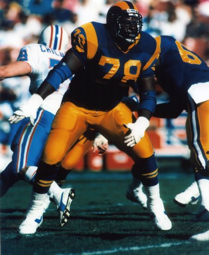 JACKIE SLATER LOS ANGELES RAMS 8X10 SPORTS ACTION PHOTO (F)