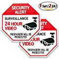 Video Surveillance Signs Security Sign Video Surveillance Alert 1Set (2ea) - Intrusion Prevention Effect 12 x 12 Octagon Aluminum Sign from TheJD