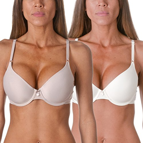 Maidenform One Fabulous Fit Tailored T-Shirt Bra (2 Pack), Ivory/ Myth, 36B