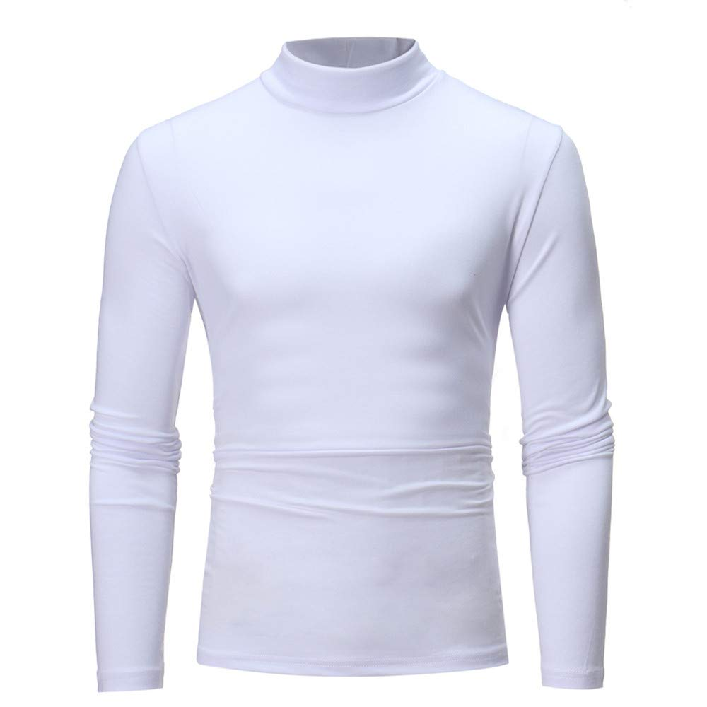 Allywit Men's Autumn Winter Pure Color Turtleneck Long Sleeve T-Shirt Top Blouse White