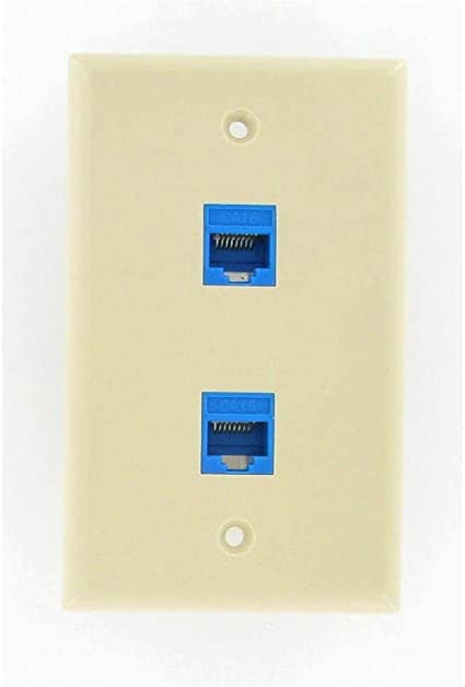 1-Pack Conwork 6-Port CAT 6 Ethernet Wall Plate Cat6//5//5e Compatible RJ45 Ethernet Punch Down Keystone Inserts Jack Network Wall Plate Panel
