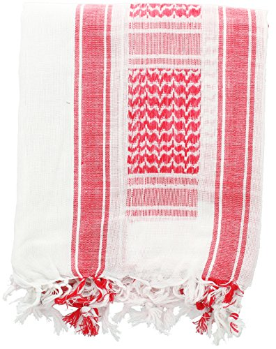 White & Red Military Shemagh Arab Tactical Desert Keffiyeh Scarf
