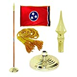 Tennessee 3ft X 5ft Flag, Flagpole, Base, and Tassel (8 Ft Oak Pole, Plastic Spear)