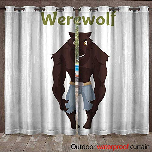 BlountDecor Outdoor Blackout Curtain Scary Werewolf Halloween Costume idea Waterproof CurtainW120 x L84 -