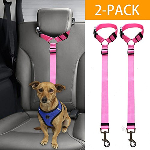 Mrli Pet Doggy Car Headrest Restraint - Animal Safety Seat Belt Strap - Adjustable Nylon Fabric Harness for Dog – Easy Vehicle Travel with Pet – Durable Zipline & Tether Backseat for Traveling by Mrli Pet