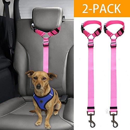 Mrli Pet Doggy Car Headrest Restraint - Animal Safety Seat Belt Strap - Adjustable Nylon Fabric Harness for Dog - Easy Vehicle Travel with Pet - Durable Zipline & Tether Backseat for Traveling ()