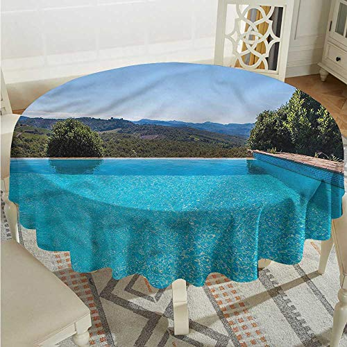 Tim1Beve Summer Washable Round Tablecloth Swimming Pool and Nature Table Cover for Dining D54 -