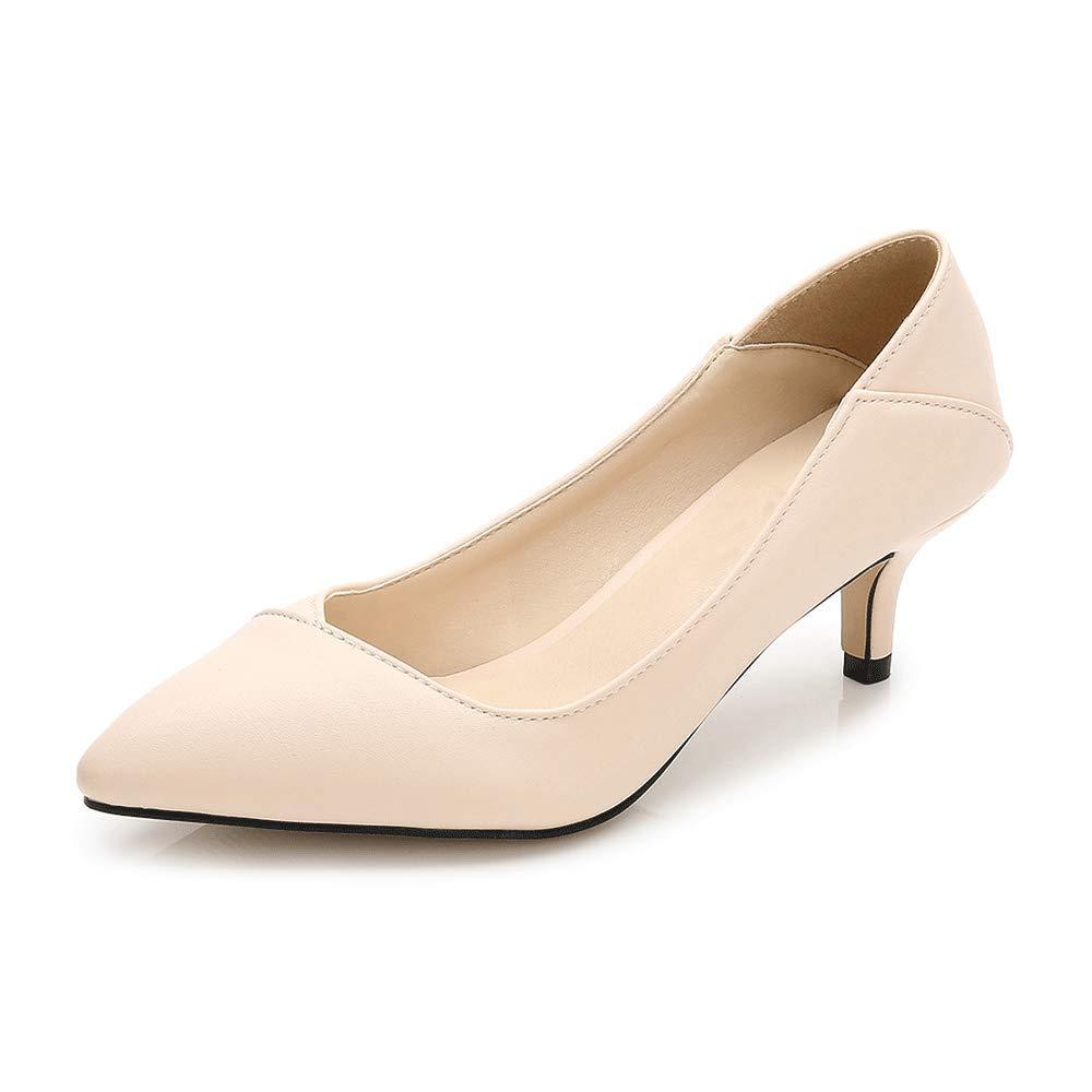 LIURUIJIA Womens Comfort Slip On Pointed Toe Dress Low Kitten Heel Pump Wedding Shoes MENS-GG-5106-1-05-apricot-37
