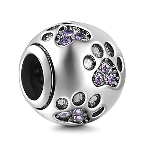 Everbling Dog Puppy Paw Print Pet Lover Purple CZ 925 Sterling Silver Bead Fits European Charm Bracelet