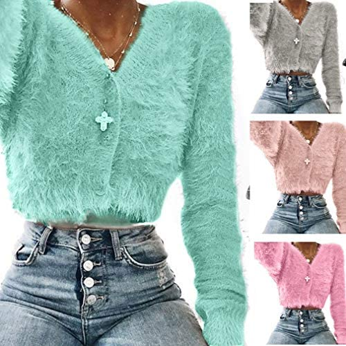 GNIKWAH Womens Winter Warm Fur Coat Deep V Neck Chic Jacket Cardigan Short Outerwear