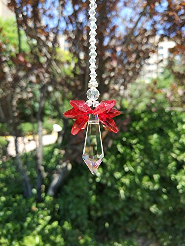 Waner Crystal Guardian Angel Suncatcher Car Charms for Rear View Mirror (Red Wings)