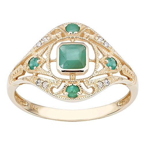 888 Easy Shop 10k Yellow Gold Vintage Style Genuine Emerald and Diamond 7