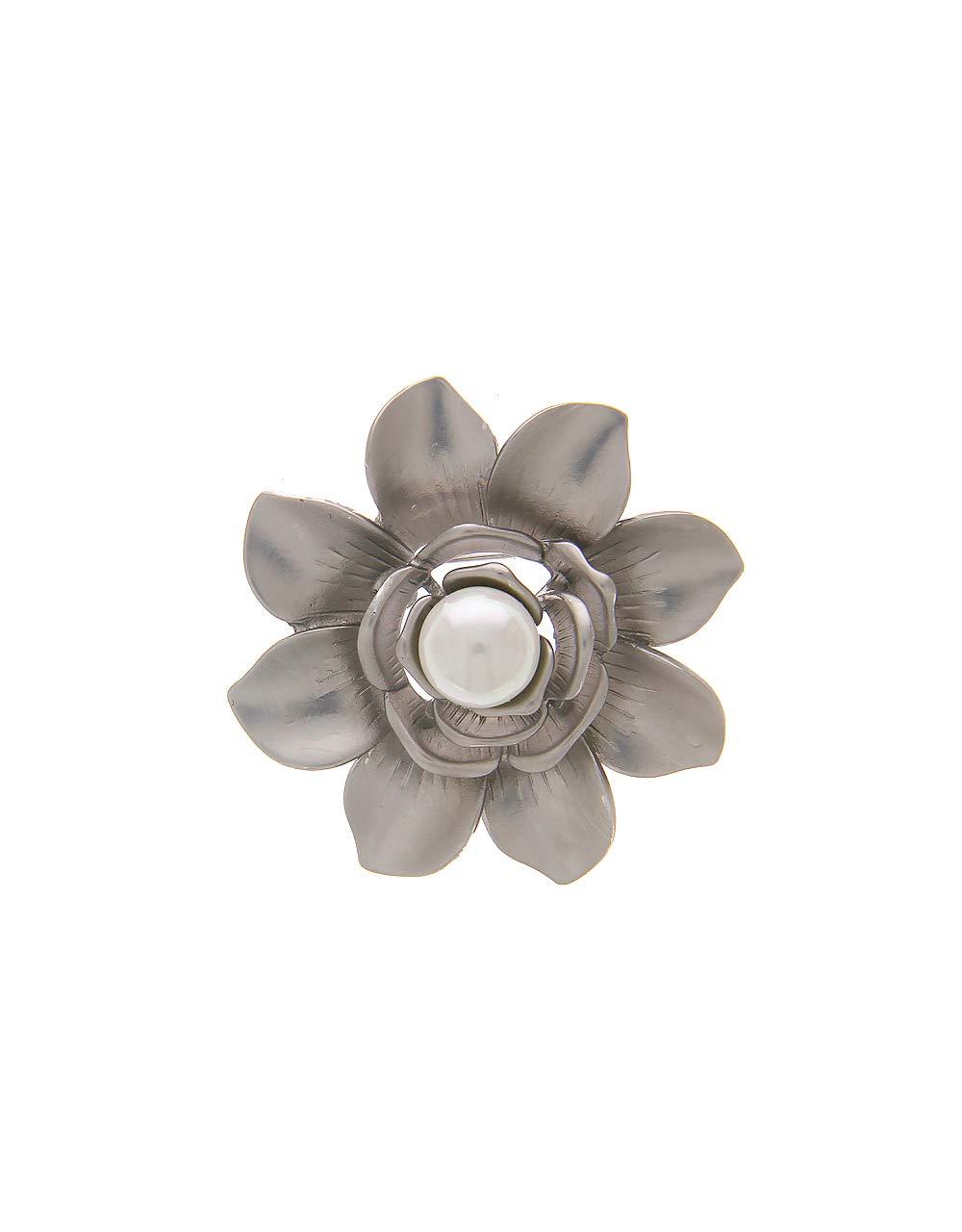 Anuradha Art Silver Colour Flower Styled Designer Trendy Brooch for Women/Men by Anuradha Art (Image #1)