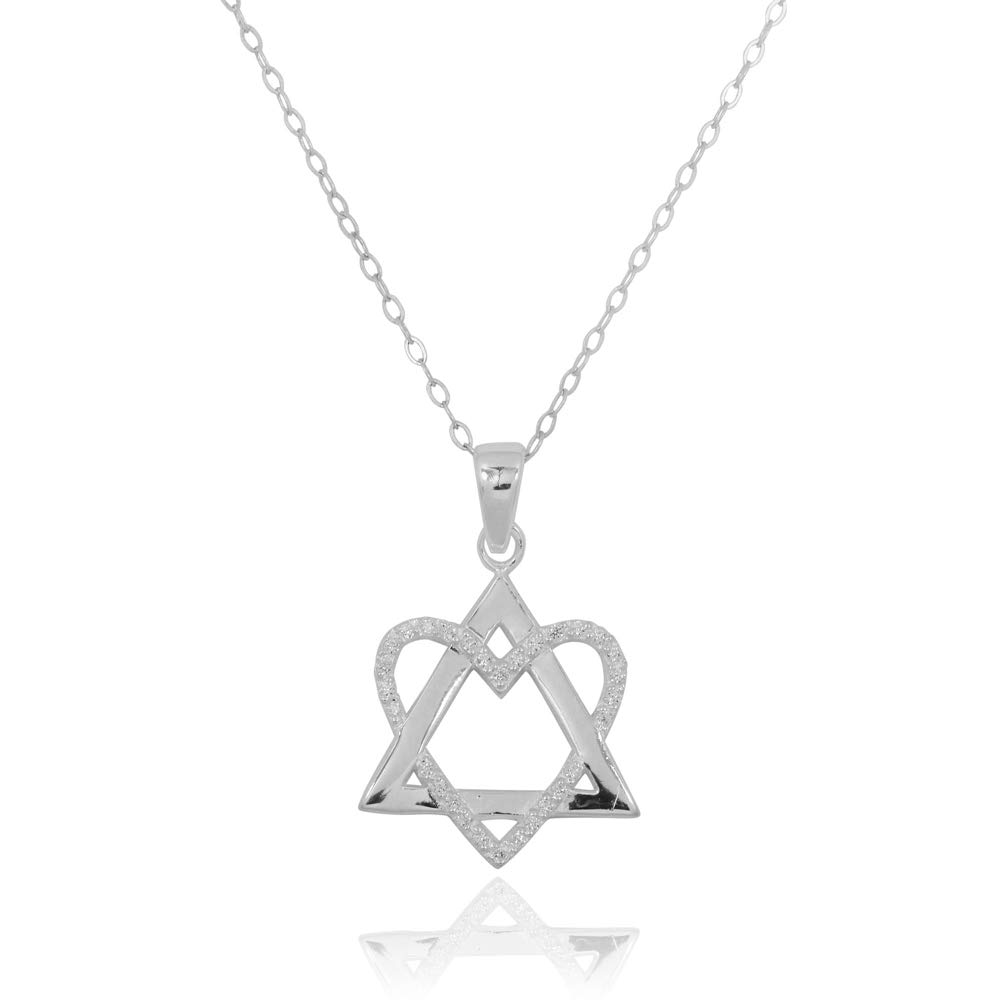 Sterling Silver 925 Star of David Pendant with White CZ Heart