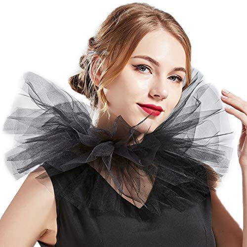 BABEYOND Tulle Ruffled Neck Collar Vintage Mesh Choker Wrap Renaissance Elizabethan Ruffle Layered Collar Scarf for Costume Party (Black) ()
