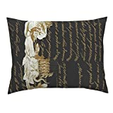 Roostery French Royal Louis Border Lolita Writing Gilt Euro Knife Edge Pillow Sham Here Comes The Sun King ~ by Peacoquettedesigns 100% Cotton Sateen