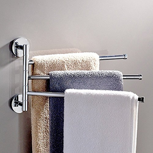 Bathroom Swing Arm 360 Degree Rotating Towel Bars 3-Arm Wall Mount Swing Out Towel Shelf, Brushed SUS304 Stainless Steel, Hanger Holder Storage Organizer for Bathroom (3 bars) (Stainless Steel Heated Towel)