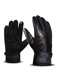 DreamHigh Men's Wool Lining Black Leather Mittens Winter Warm Cycling Driving Gloves