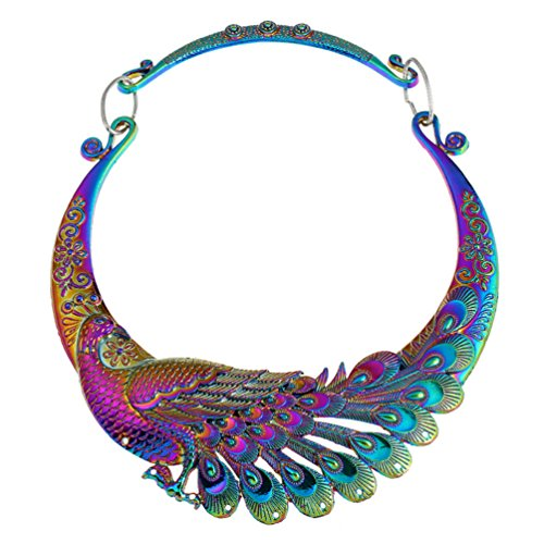 Lanue Women Retro Ethnic Carved Colorful Chunky Collar Choker Necklace Indian Exaggerated Jewelry (Colorful peacock)