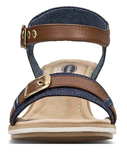 Cinturino Alla Caviglia Con Cinturino Basso In Denim Blu E Pelle Marrone